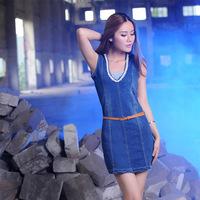 2014 Summer Discount Free Shipping Fashion Women's Jeans Dress Classic Brief Style Denim Slim Dresses 8825