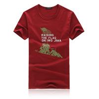 Summer Korean Men's Fashion Casual O-neck Short Sleeve T-shirt Raising The Flag On Iwo Jima Printed Pattern Free Shipping