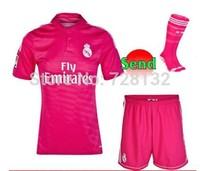 New 14/15 Real Madrid Away pink Soccer jersey Kits+ the match sock,2015 JAMES RONALDO KROOS BALE Football Jersey uniforms+socks