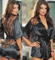 Black rose home robe fashion plus size sexy lace perspective bathrobe back sauna bathrobe