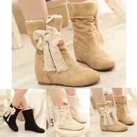 New Autumn Boots Fashion Womens Ankle boots Bowtie Flock Soft Surface Women Pure Color Boots SHL5249