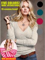 Free ship!Brand women V neck solid color regular length long sleeve top tees soft  fabric elestic  80% cotton