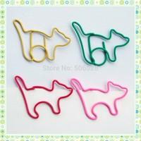 Creative 100PCS/Lot Freeshipping Multi Colors Cat Paper Clips For Office&School Desk Accessories Clip Dispenser Wholesale&Retail