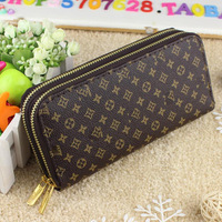Free Shipping 100% Genuine Leather match PU women's Long section of the multi-card wallet holder Retro purse fashion Clutch Bag