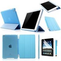 PU Leather Magnetic Smart Cover+Crystal Hard Back Case Shell For iPad Air/New iPad Mini 2 Retina/IPAD 2 3 4 5 + Display Pen+Film