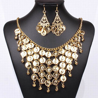 Gold plated Bride Wedding Necklace and Earring Jewelry Set Forehead Indian Jewelry 2014 New Free Shipping
