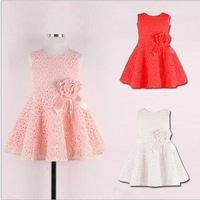 Hot sale 2014 New Summer children clothing,baby girls korean princess dress,kids lace/bow flower party costumes,suit 2-6Y child