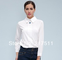 Free Shipping New Spring 2014 Fashion Women Tops Cute Character Embroidery Eye Long Sleeve Lady Chiffon Shirts Blouse r14A2322