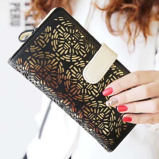 Wbg0852 women fashion scrub wallets card holders hasp classic style hollow standard wallets women s wallet