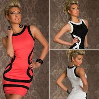 Hot 2014 Summer New Sexy Women Clubwear Striped Sleeveless Tank Package Hip Mini Dress Vestidos, Black, White, Pink, M, XXL