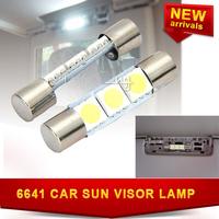 2X LED Dome light Mirror SMD 5050 31mm 6641 3leds 12V Bulb Sun Visor Light Car White Fuse Vanity FREE SHIPPING