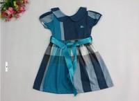 Baby girl dresses brand Royal Blue England plaid short puff sleeve little princess summer dress baby girls sashes dress
