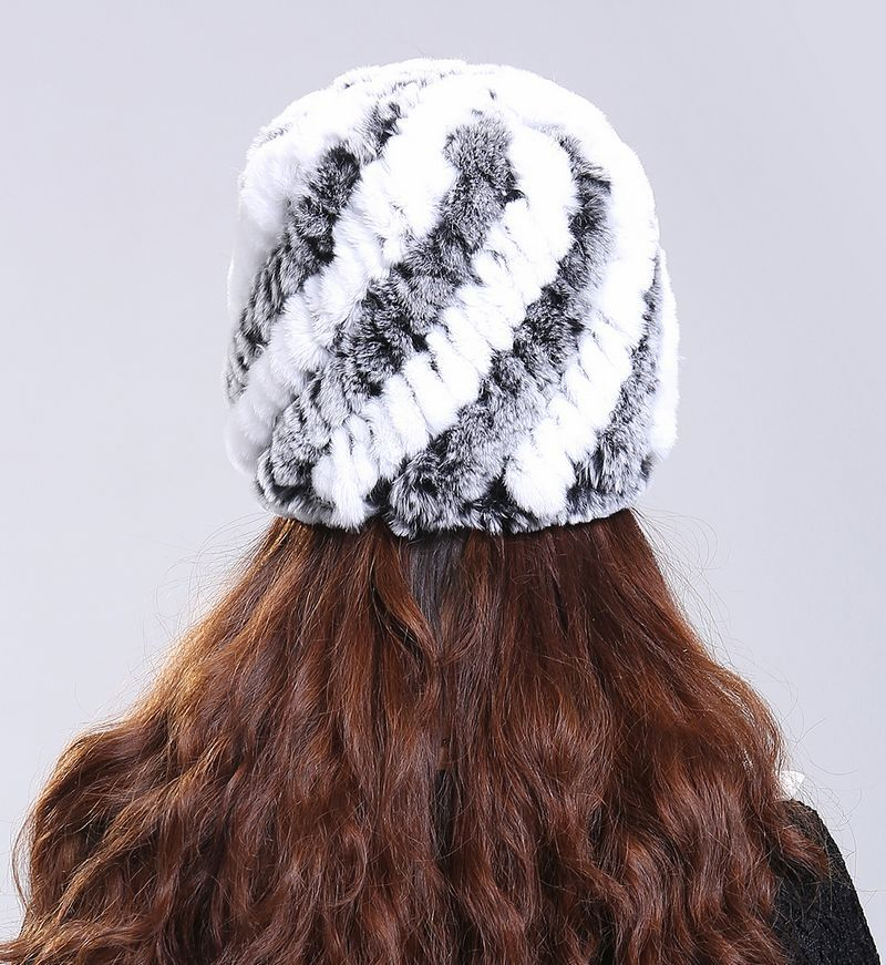 Luxury Autumn Winter Women s Genuine Real Knitted Rex Rabbit Fur Hats Handmade Lady Warm Caps
