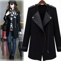 Women Wool Coat Fashion PU Leather Patchwork Epaulet Zippers Casual Slim Jacket Overcoat Winter Coat Black Blue Size S M L XL
