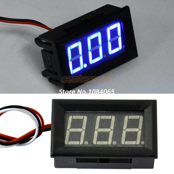 Cheapest!! Hot Mini Lithium Battery Digital Voltmeter DC 3.3v-17V Blue LED Small Panel Meter(China (Mainland))