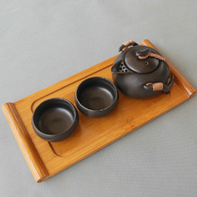 Chinese Black Porcelain Travel Tea Set 2 Ceramic Tea Cups 1 Teapot 1 Bamboo Tea Tray