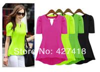 2014 New Fashion Hot Sale Plus Size Casual Short Sleeve Chiffon Blouse Shirts For Women S-XXL