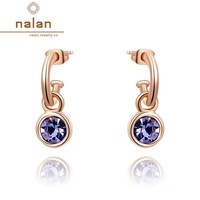 Window Earrings Earings fashion 2014 free shipping genuine Austrian crystal gilded purple earrings E2020034280