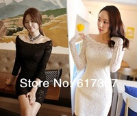 2014 Korean sweet sexy lace boat neck long-sleeved bodycon dress Bridesmaid Wedding Party Evening Club Wear mini dresses 2 Color