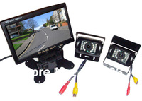 "2*24V 18 LED IR Car Parking Reverse Backup Camera + 7"" LCD Monitor Rear View Kit with free 10m video cable for Long Truck Bus"