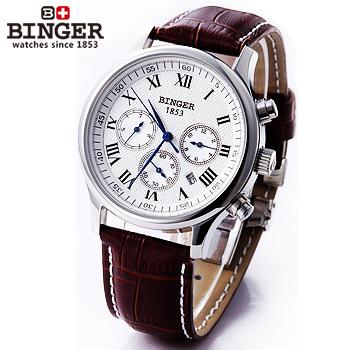 Горячая распродажа люксовый бренд швейцарский бингер часы мужчины механическая рука ветер кожаный ремешок модные часы скелет self-ветер наручные часы