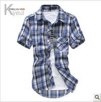 Free shipping!!- 2014 fashionable casual short-sleeve plaid shirt  short-sleeve cotton shirt