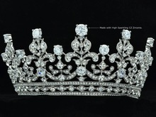 Wedding Bridal Clear Crystals Flower Tiara Crown Headbands Jewelry W Clear Zircons 17363R