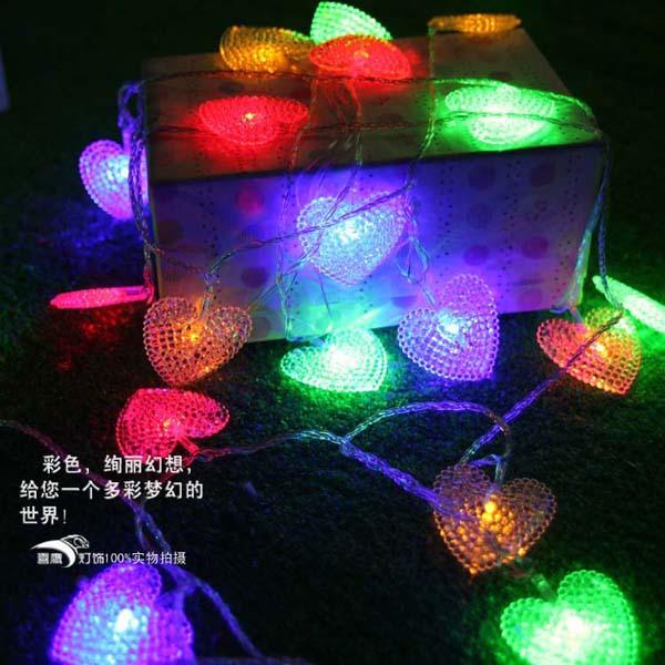 10m LED STRING Strip 50 Hearts LED Holiday CHRISTMAS WEDDING Curtain Decoration LIGHTs Lamps Drop Shipping(China (Mainland))