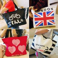 New Fashion Casual Canvas Bag Women Print Handbag  Shoulder Bags Messenger Bags Totes Good quality ECO Shopping bag