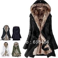 free shipping Faux fur lining women's fur Hoodies Ladies coats winter warm long coat jacket clothes