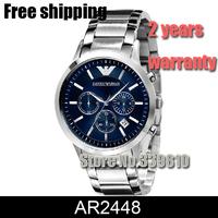 Hot New AR2448 AR5860 Quartz Chronograph Mens Watch Stainless Steel Strap Gents Wristwatch Classic Fashion Watch + original box