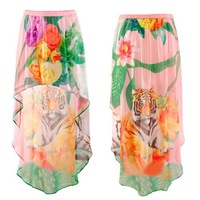 Wholesale Women Sexy Tiger Flower Printed Skirt Short Front Long Chiffon Skirt Plus Size European America 2014 New Spring Summer
