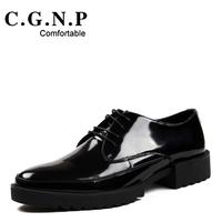 2014 men's pointed toe career black blue business formal platform trend japanned leather oxford genuine leather party shoes