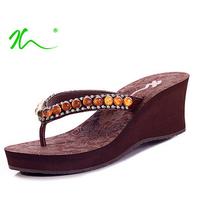 New 2015 Spring Summer Shoes Fashion Brand Women Sandals High Heels Wedge Flip Flops Platform Sandals for Women Beach Bohemia