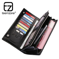 teemzone Men's Top Genuine Leather casual purse , brand new 2014 latest design leather wallet for business men, mens' checkbook