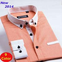 New  2014   men  Business Casual  slim fit shirt  brand  long sleeve plaid  shirts  synthetic  XS S M L XL XXL XXXL