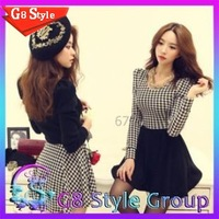 2014 spring new winter dress women girl's brand new fashion  casual houndstooth grid long sleeve dress for women girl