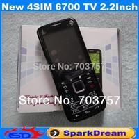 New 4SIM 6700 TV Phone With Quad SIM Card TV Bluetooth FM Camera 2.2 Inch Screen phone (Can Choose Russian Keyboard)