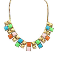 Fashion accessories candy color block double layer short design necklace New hot beautiful retro jewelry