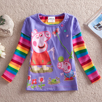 Hot spring autumn cotton long sleeve girls T-shirt, cartoon peppa pig T-shirt for girls, children clothing 18M/6Y Free shipping