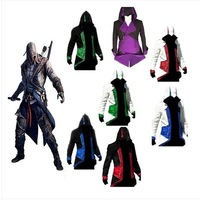 Fashion Assassins Creed 3 Cosplay Hoodies Plus Size Jacket Cosplay Costume Customizable Casual Costume for Men Women Cap Cloak