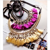 Free shipping Luxury noble ladies of the bright crystal gem tassel ribbon necklace short design necklace Z2210