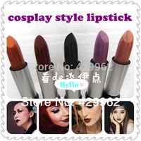 5 pcs/set  Cosplay gothic vampire Black champagne gold bead light purple red Dark Purple Cyber Black Lipstick makeup