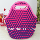 New Arrival Women Fashion Pink Dots/Wavy Print Neoprene Thermal Lunch Tote/ bags outdoor food container Cooler Bag two Size(China (Mainland))