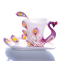 Free shipping Porcelain enamel Mugs peacock coffee cup tea set cup fashion ceramic fashion colored drawing set creative tea cup