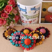 Mixed 50pcs sunflower shape non woven fabric flatback girls hairband decoration.4.2CM wool felt jewelry/garment accessories .