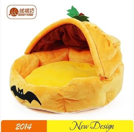 Grátis frete nova moda abóbora bonito estilo pet dog house curta de veludo lavável teddy poodle cama pet térmica canil quente(China (Mainland))
