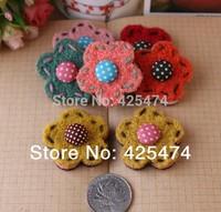 50PCS handmade non woven crochet jewelry flower beads Flatback DIY wool felt flowers patch for hairband/garment/jewelry.