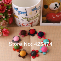 Mixed colors 100pcs 21MM wool felt handmade hairband little flowers.Non woven fabric hair accessories jewelry garment accessory