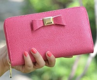 women's long genuine leather wallet cowhide day clutch bag with bow design free shipping